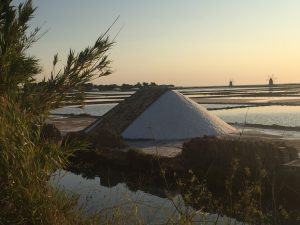 sea salt flats Sicily, harvest salt